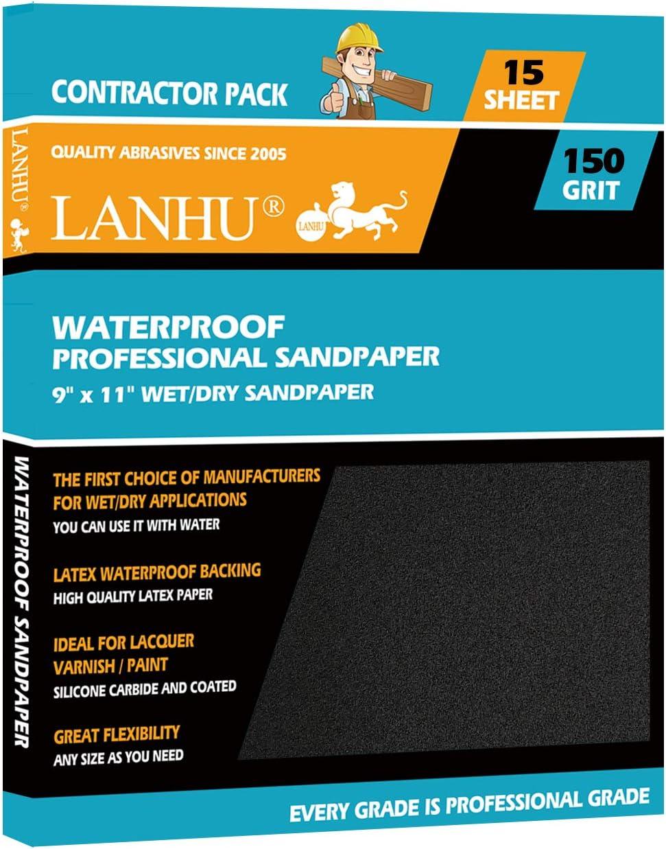 LANHU 150 Grit Sandpaper for Wood Furniture Finishing, Metal Sanding and Automotive Polishing, Dry or Wet Sanding, Multipurpose Sandpaper, 9 x 11 Inches, 15-Sheets
