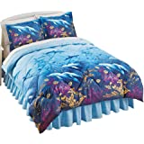 Seaside Dolphin Cove Ocean Inspired Medium-Weight Comforter Bed Set With Sham(s) and Bedskirt, Blue, Full