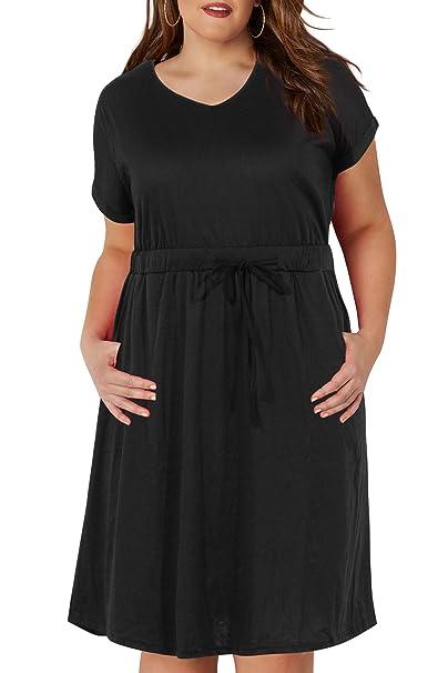 Nemidor Women\'s Simple Jersey Drawstring Waist Plus Size Casual T-Shirt  Dress