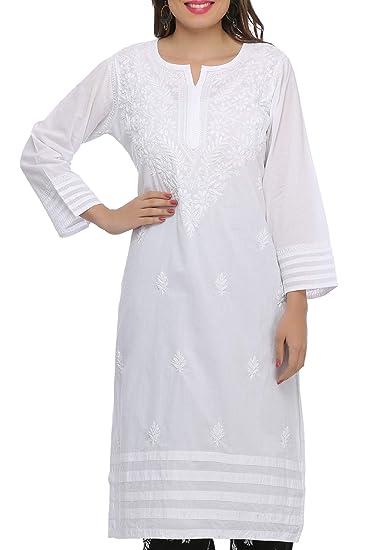 137c97ead28 ADA Needlecraft Ethnic Chikan White Cotton Kurti for Women Casual Wear   Amazon.in  Clothing   Accessories