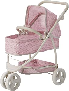 Olivia's Little World - Polka Dots Princess 2-in-1 Baby Doll Stroller - Pink/Gray, Doll Pram