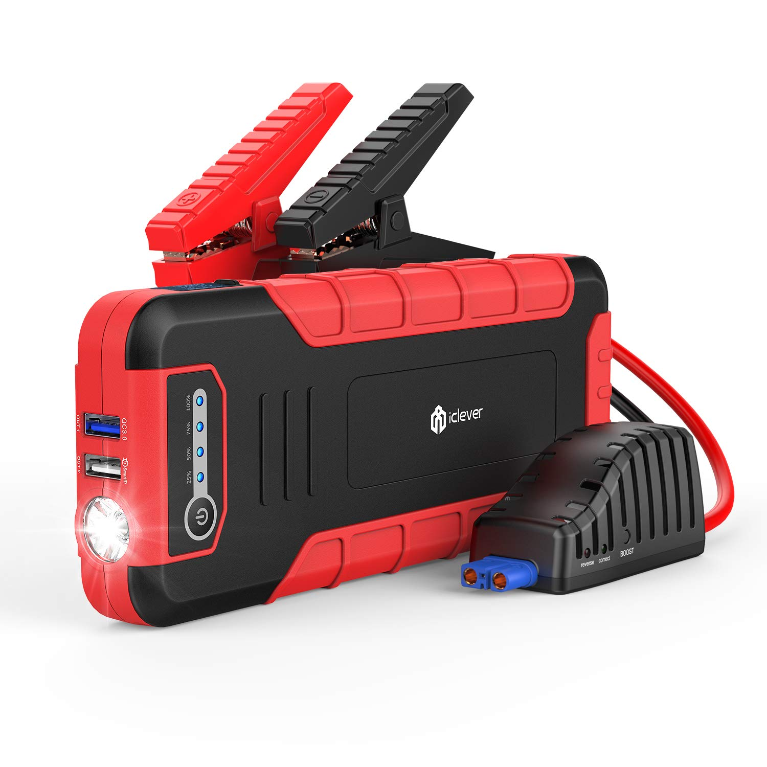 iClever Jump Starter 1300A Peak 18000mah Car Jumper, 12V Auto Battery Jumper (up to 8L Gas or 6.5L Disel Engine), Portable Power Pack with Dual USB Port, 12V & 19V DC Outut and Flashlight