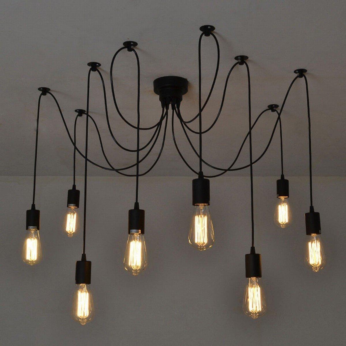 cheap vintage lighting. Itian Chandelier Lights 8 Light Bulbs Interface Antique Vintage Edison Lamp Shade Multiple Adjustable E27 Retro DIY Ceiling Pendant Lighting Hall Deco(8 Cheap T
