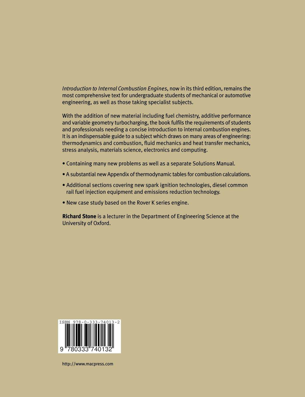 Introduction to Internal Combustion Engines: Amazon.co.uk: Richard Stone:  9780333740132: Books