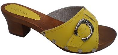 'Marited' Schwarz Damen Holz Leder Clogs Pantolette Sandalette Gr 36 37 38 39 40 41 (36) 5bBEeg5