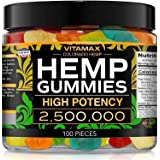 Vitamax Hemp Gummies - Great for Peace & Relaxation - 2,500,000 - Natural Fruit Flavors Tasty Relief – Made in USA – Relaxing