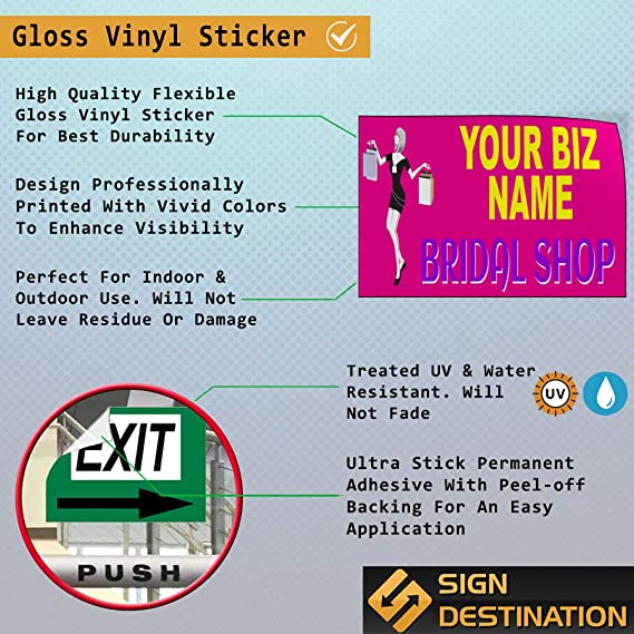 Custom Door Decals Vinyl Stickers Multiple Sizes Business Name Bridal Shop Brides Retail Bridal Shop Outdoor Luggage /& Bumper Stickers for Cars White 52X34Inches Set of 5