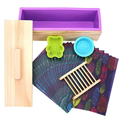 Amazon Com Hukoer Rectangular Silicone Soap Mold With Wood Box And