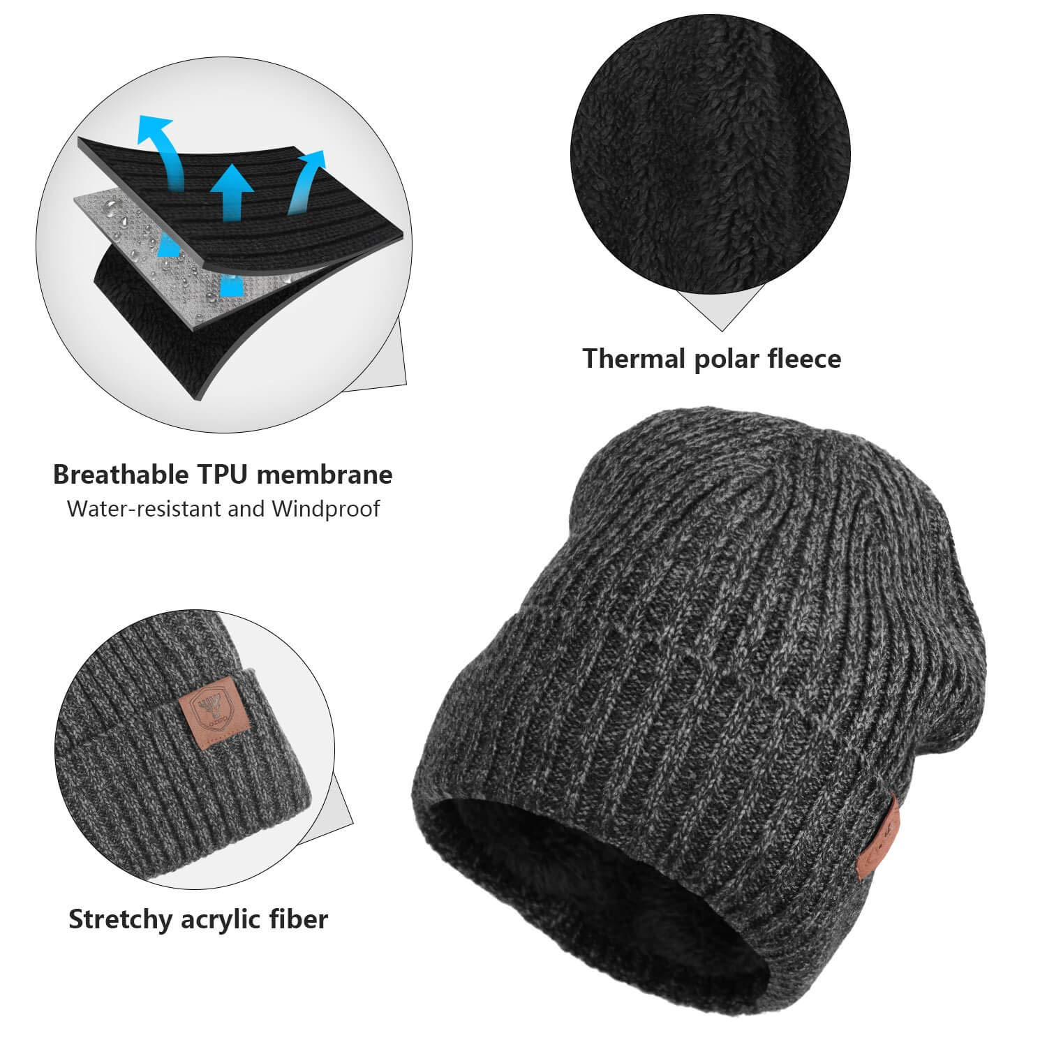 OZERO Winter Daily Beanie Stocking Hat - Warm Polar Fleece Skull Cap for Men  and Women ... cbaf51bd3067