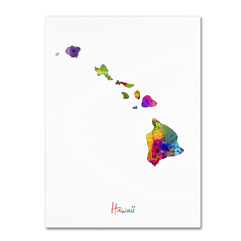 Trademark Fine Art Hawaii Map by Michael Tompsett, 35x47-Inch