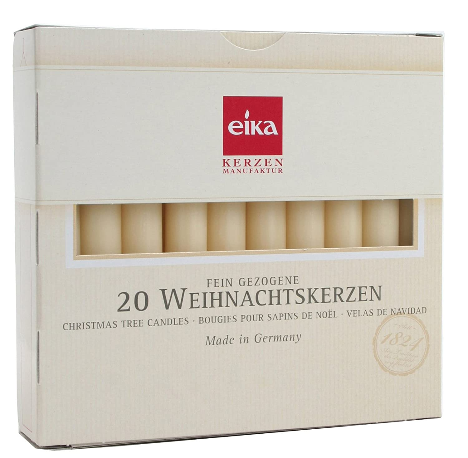 Eika Christmas Tree Candle Set 20 Pieces Made in Germany - Champagne Eika by Brubaker Baumkerzen_20er_champ_105mm
