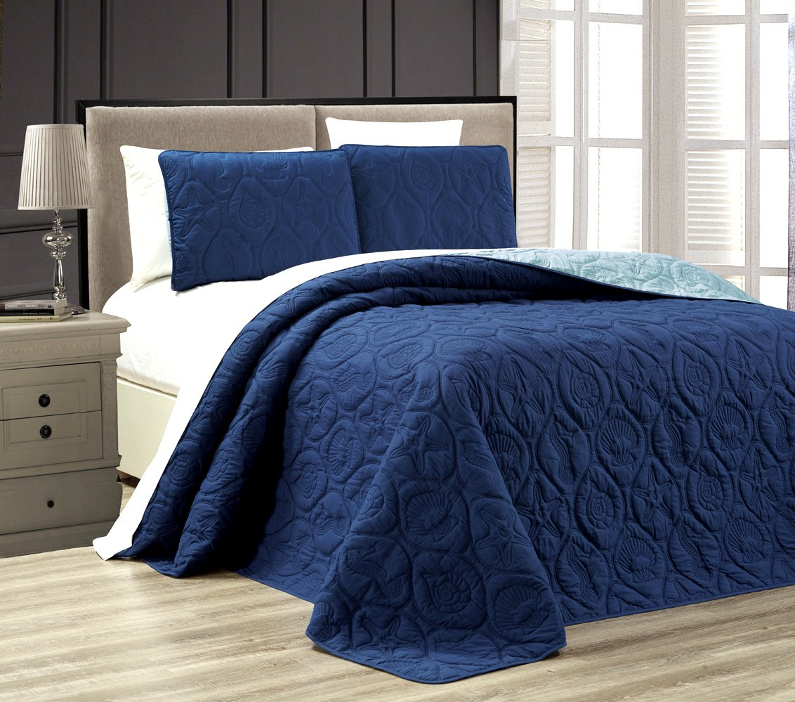 3-Piece Tropical Coast Seashell Beach (California) Cal King Oversize OVERSIZE Bedspread NAVY / BLUE Reversible Coverlet Embossed Bed Cover set. Sea Shells, Sea Horse, Starfish etc.