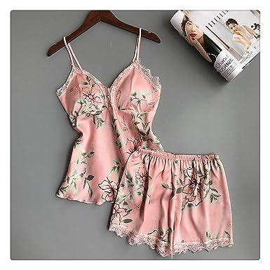 1efdc17448faec Sleep Lounge Women Pajamas Set Sexy Satin Sleepwear Silk 2 Pieces Pyjama  Femme Flower Pajamas with