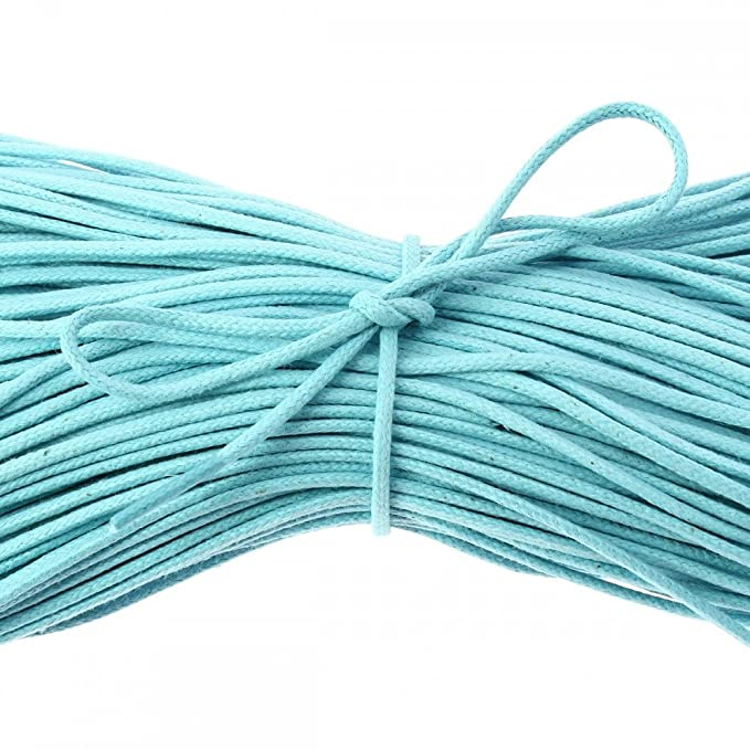 Dentelle Française - Coton Ciré Perles Turquoise Rond Bleu 40 Cm nfEPEcyhV