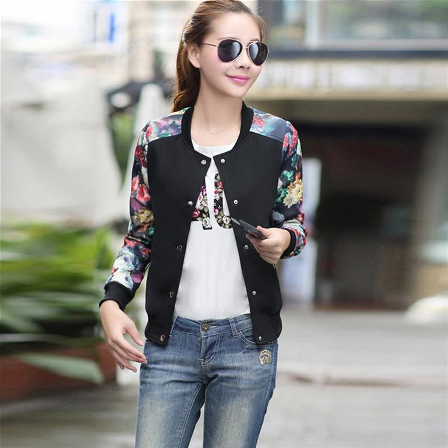 Rising On Plus Size Leisure Women Round Collar Button Thin Bomber Jacket Long Sleeves Casual Coat