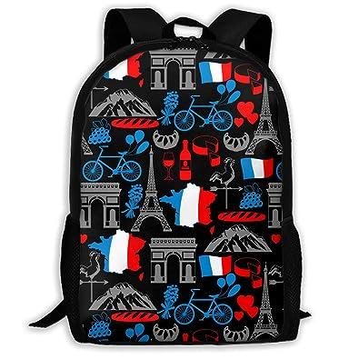 CVDGSAD Bandera de Francia Bicicleta París Mochila ...