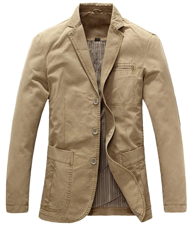Chouyatou Men's Casual Three-Button Stripe Lined Cotton Twill Suit Jacket (Small, Khaki)