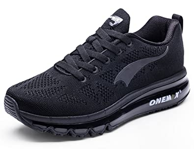 best service 93ec4 43767 ONEMIX Men s Air Cushion Running Shoes,Casual Athletic Sneakers Gym Tennis, Black,Size