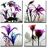Natural art – 4 Panels Huge Modern Giclee Prints Artwork Multi Flowers Pictures Photo Paintings Print on Canvas Wall Art for Home Walls Decor Stretched and Framed Ready to Hang (12×12in×4pcs)