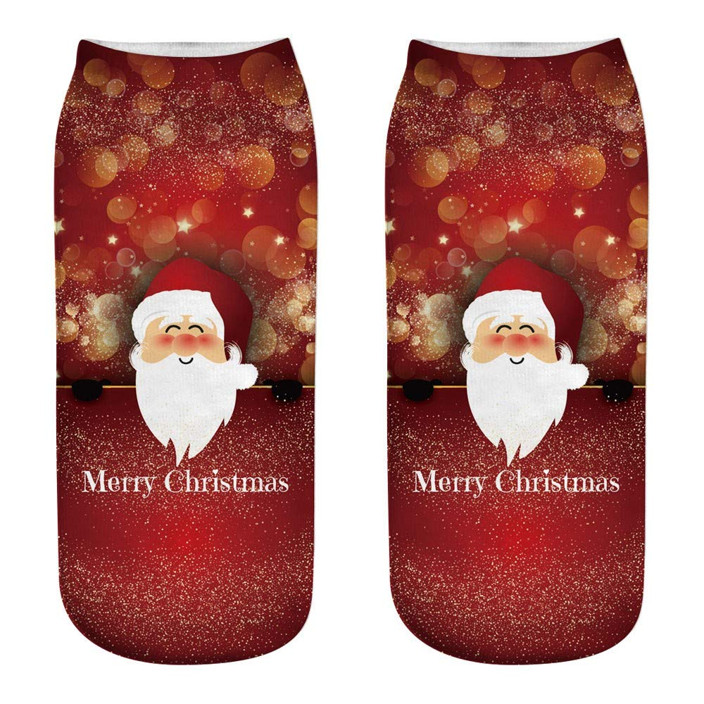 WUAI Clearance Sale,Unisex Christmas Costumes Novelty Holiday Halloween Funny 3D Fashion Printed Casual Warm Socks(D,Free Size)