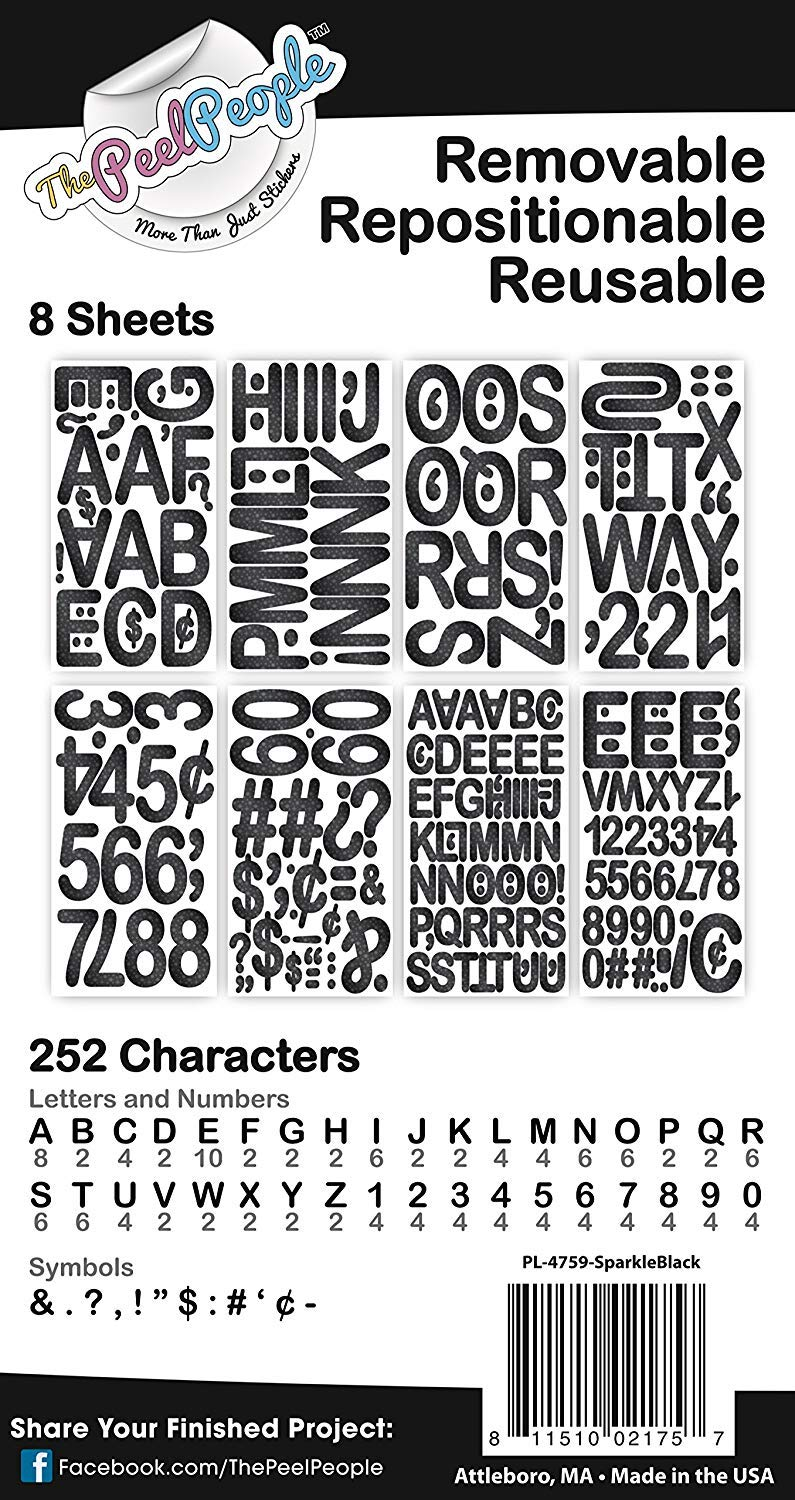 252 PC Peel and Stick Letters /& Numbers 1 and 2 Black Sparkle by The Peel People