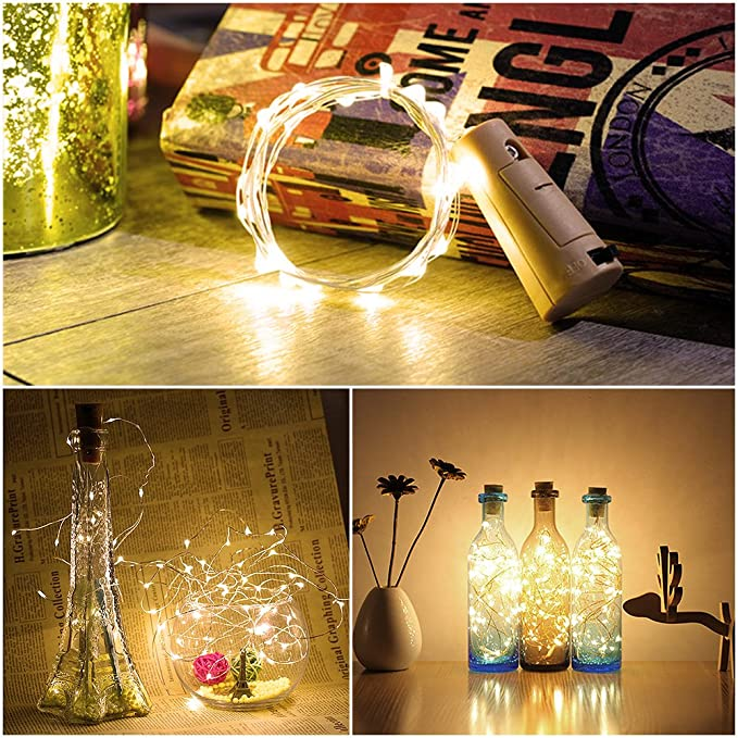 6Pack Luces de Botella, Amteker Luces del Corcho de 1M 20 LED, Botella de Alambre de Cobre de Guirnaldas Luminosas de Vino para DIY, Fiesta, Mesa de Hogar, ...