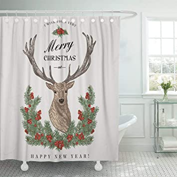 Emvency Waterproof Fabric Shower Curtain Hooks Hunting Vintage Christmas Deer Pine Wreath And Holly Merry Happy