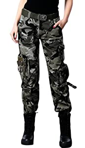10. Chouyatou Women's Active Loose-Fit Military Multi-Pockets Pants