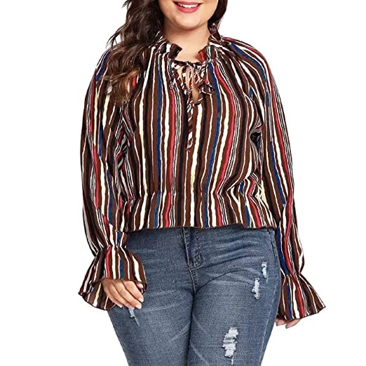 55f3c9660defa Amazon.com  2018 Clearance Plus Size Womens Casual Stripe O-Neck Tops Long  Sleeve Sweatshirt T Shirt Blouse  Sports   Outdoors