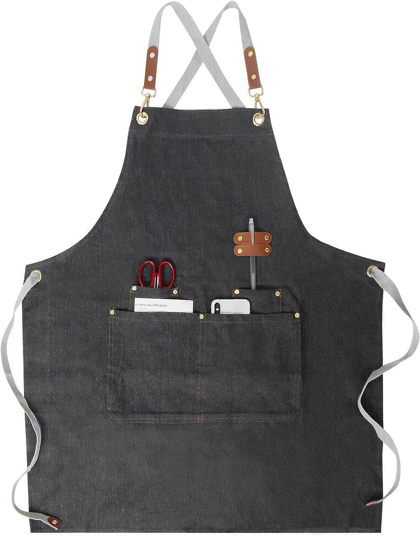 Chef Apron,Women Men Denim Apron Adjustable Leather Straps
