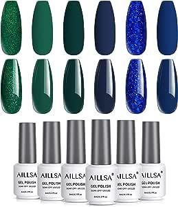 AILLSA Teal Blue Gel Nail Polish Set, 6 Colors Glitter Royal Blue Gel Polish Kit Green Glitter Nail Gel Polish Set, Soak Off UV LED Gel Nail Art Gift Box