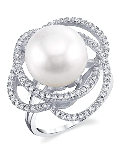 THE PEARL SOURCE 13-14mm Genuine White Freshwater Cultured Pearl Cubic Zirconia April Ring for Women