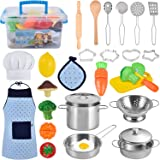 BGdoyz Kitchen Pretend Play Toys, Cooking & Baking Set with Stainless Steel Cookware Pots and Pans Set, Cooking Utensils…