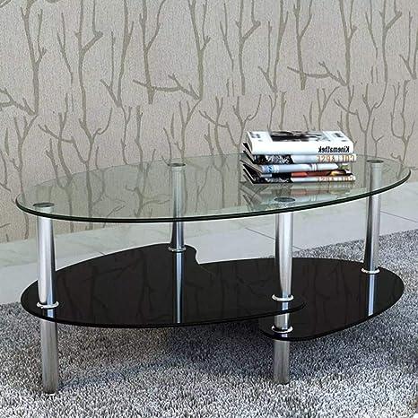 Tidyard Mesa de Centro con Diseño Exclusivo de 3 Niveles Mesa de Cristal Mesita de Noche Mesa de Café de Vidrio para Estar o Dormitorio Vidrio ...