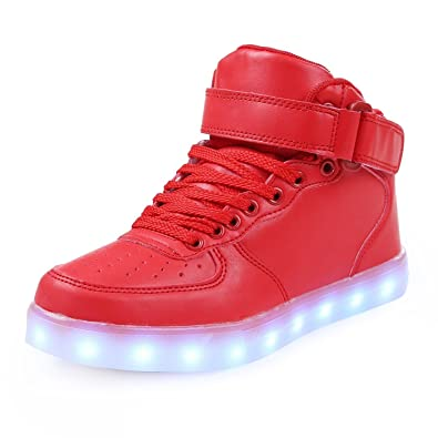 Gloria JR Frauen Mens High Top USB Aufladung LED Schuhe Blinkender Sneaker (EUR37, Wei?)