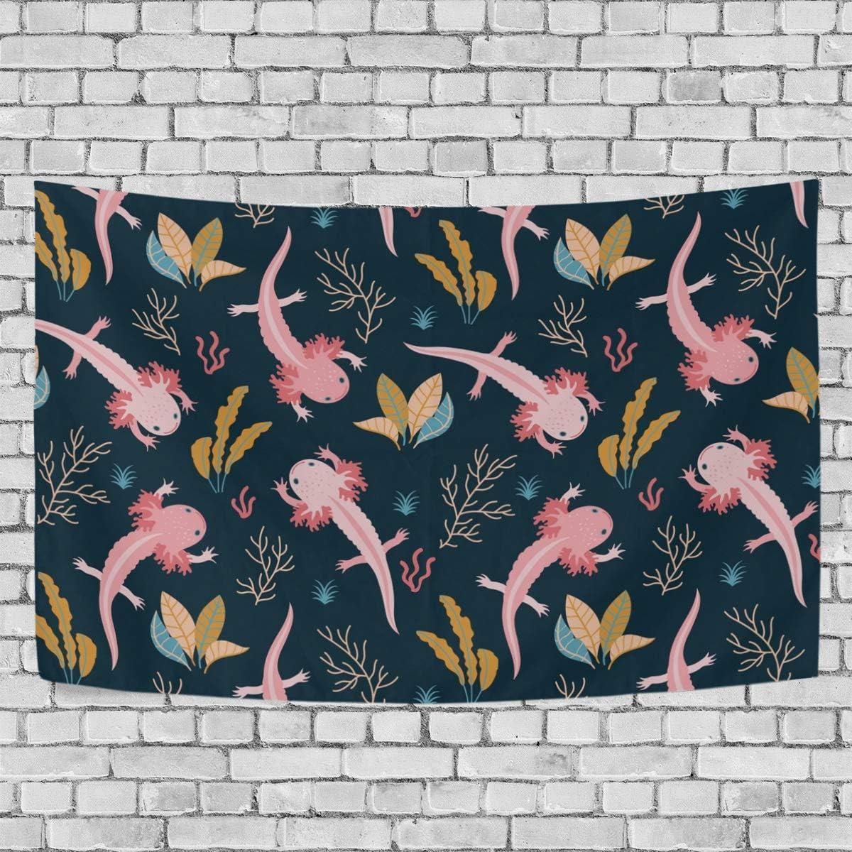 DERLONKAJE Wall Tapestry Axolotl Sea Weed Aquarium Dorm Throw Bedroom Living Room Window Doorway Curtain Home Decor,Tapestry Wall Hanging,90×60 Inch