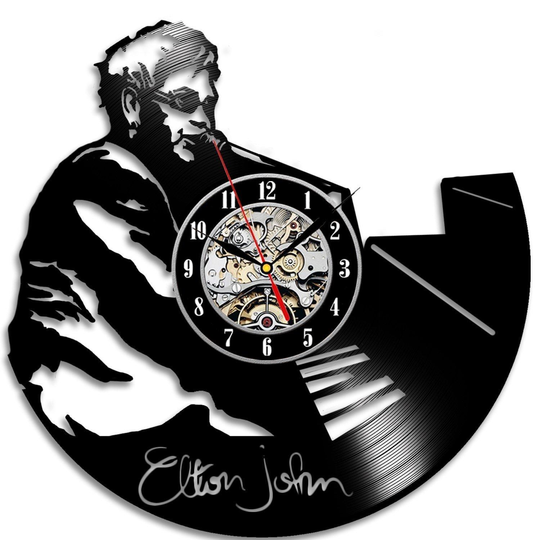 エルトンジョンのレコードの壁時計モダンなクリエイティブホームヴィンテージデコレーション-現代の手作りアートであなたの家を飾る B07CJYTYFZ