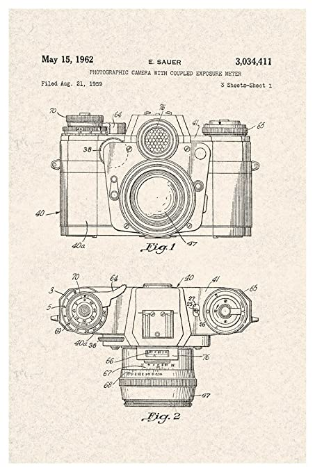 Amazon Sauer Vintage Camera 1962 Official Patent Diagram Poster
