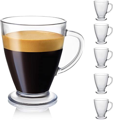 Amazon Com Joyjolt Declan Coffee Mug Glass Coffee Mugs Set Of 6 Clear Glass Coffee Cups 16 Oz With Handles For Hot Beverages Cappuccino Latte Big Tea Cup Crystal Clear Glass