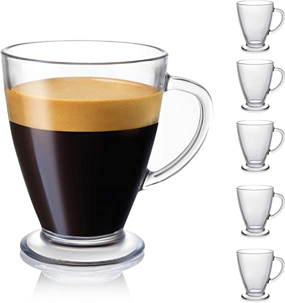 JoyJolt Declan Latte Coffee Mug. Glass Coffee Mugs Set of 6.