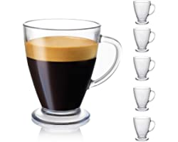 JoyJolt Declan Coffee Mug. Glass Coffee Mugs Set of 6. Clear Glass Coffee Cups 16 Oz with Handles for Hot Beverages - Cappucc