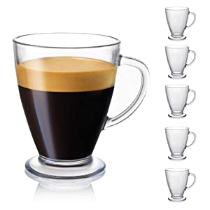 JoyJolt Declan Coffee Mug. Glass Coffee Mugs Set of 6. Clear Glass Coffee Cups 16 Oz with Handles for Hot Beverages - Cappuccino, Latte, Big Tea Cup. Lead Free Glass Cups, Espresso Coffee Gifts