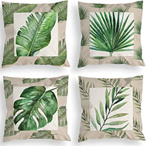 Tropical Throw Pillow Covers 18x18 Inches Green Leaves Greenery Monstera Fresh Landscape Rural for Sofa Bedroom Living Room Car Fabric Decor Decorations Pillowcase Cushion Case Home Set of 4