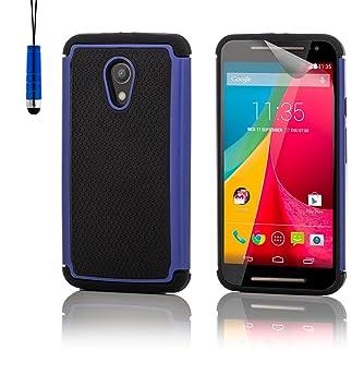32nd® Funda Rígida Anti-Choques de Alta Proteccion para Motorola Moto G 2 (2. Generacion, 2014) Carcasa Defensora de Doble Capa - Azul