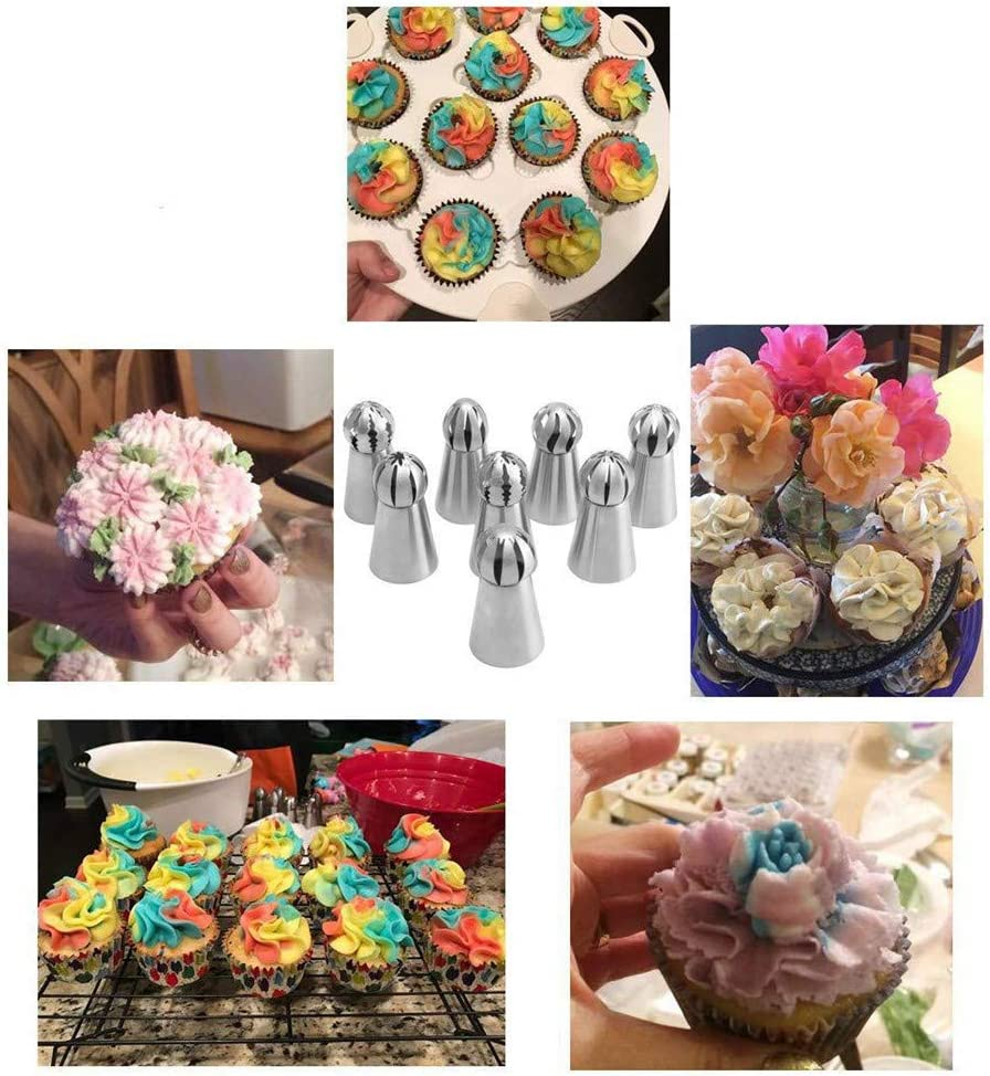 NEW Version 7pcs Set Stainless Steel Sphere Ball Tips Russian Icing Piping Nozzles Tips Pastry Cake Fondant Cupcake Buttercream DIY Baking Tools 8pcs Set