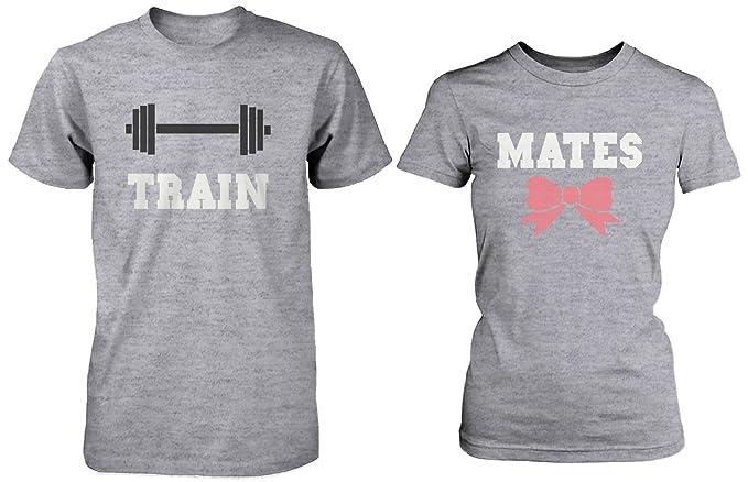 Cute pareja - Camisetas de deporte tren Mates a juego gris camisas para parejas: Amazon.es: Ropa y accesorios