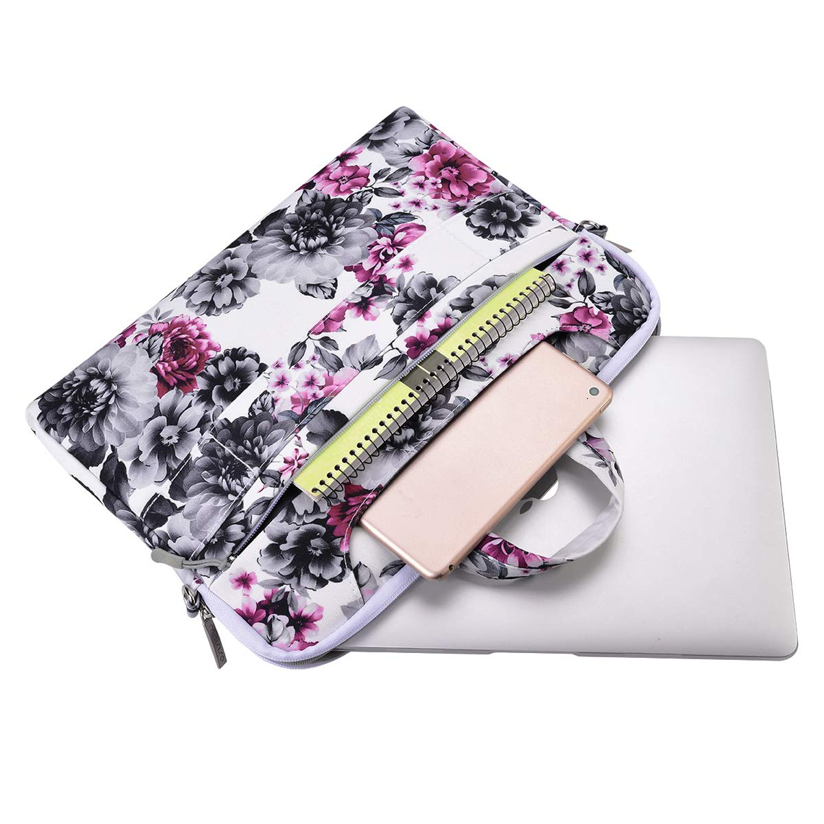 Canvas Pattern Briefcase Sleeve with Back Trolly Belt Black Base White Dots MacBook Pro Retina Mosiso Laptop Shoulder Bag Compatible 13-13.3 Inch MacBook Air Surface Laptop 2 2018 Surface Book