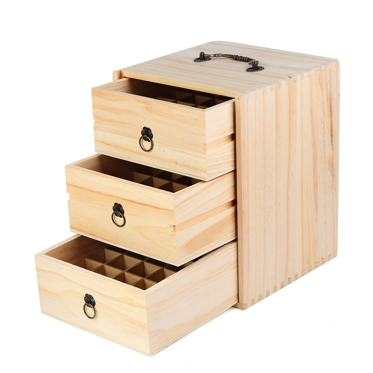 KINGSO Wooden Essential Oil Box Case Wooden Oil Storage Container Pine Box Holds 22 Slots total Large Organizer Best For Travel Display Cosmetics and Presentations (75 Slots)