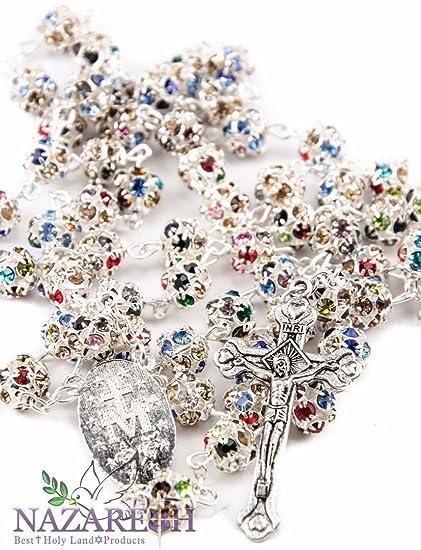 607aa41bab2f Católica rosario con perlas de Colorful Zircon cristales hecho a mano collar  Milagrosa   Crucifijo Jerusalén