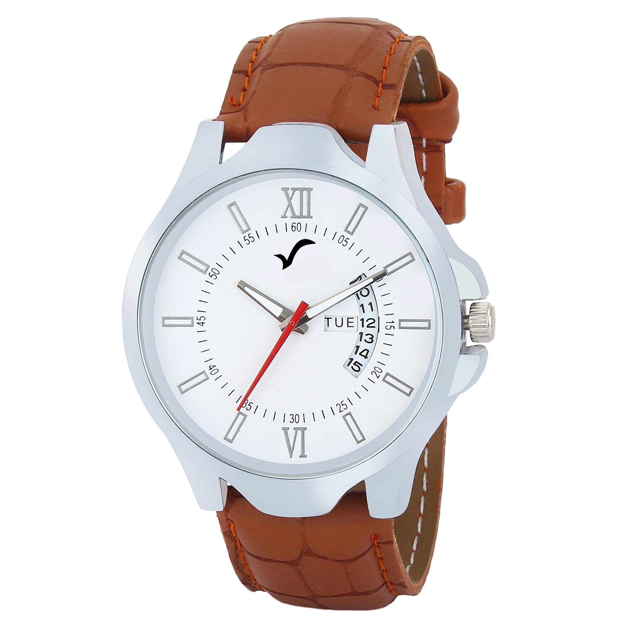 WRIGHTRACK Exclusive Quartz Movement Leather Strap Day & Date White Dial Analogue Men's and Boy's Wrist Watch (WT516) product image